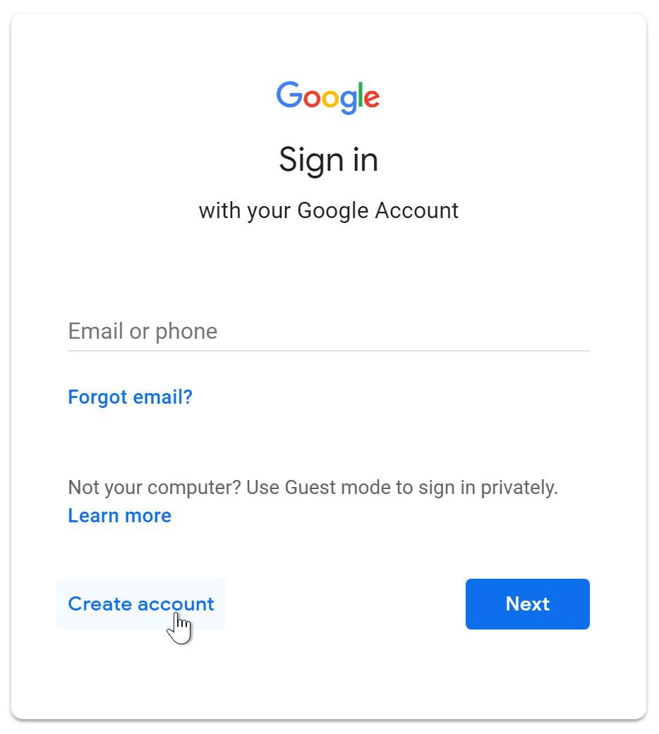create gmail ac for cloud computing
