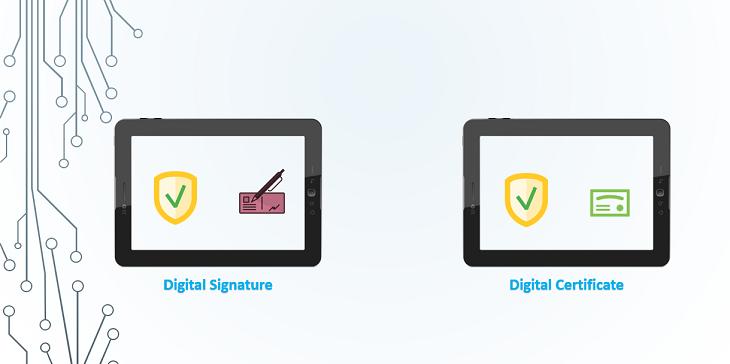 digital certificate vs digital signature